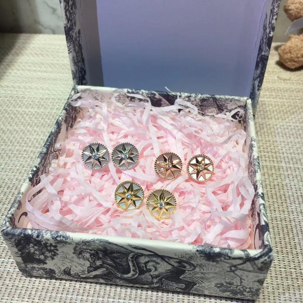 Luxueux romantique boussole boucles d'oreilles étincelant huit étoiles boucle d'oreille pour femmes dames pur 925-Sterling-argent célèbre bijoux - 5