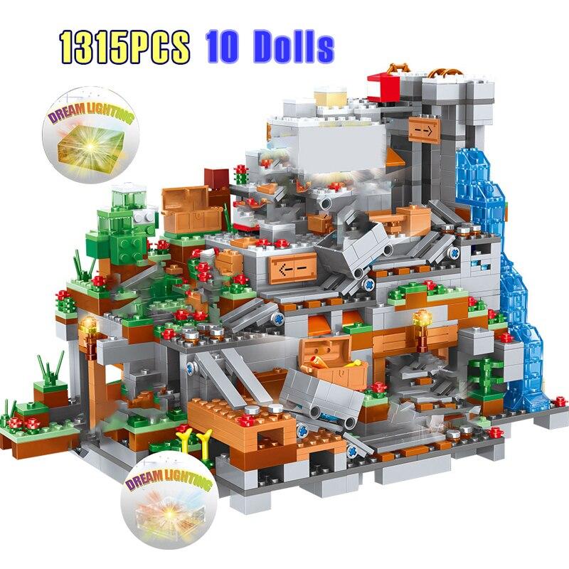 1315PCS Compatible 21137 My World Model Building Blocks Institutional Mountain Cave Village Figures Module Bricks Children Toys