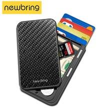 Nouveau apportez porte carte hommes sac à main en Fiber de carbone minimaliste Rfid portefeuille pour cartes de crédit porte carte didentité de visite bancaire porte carte