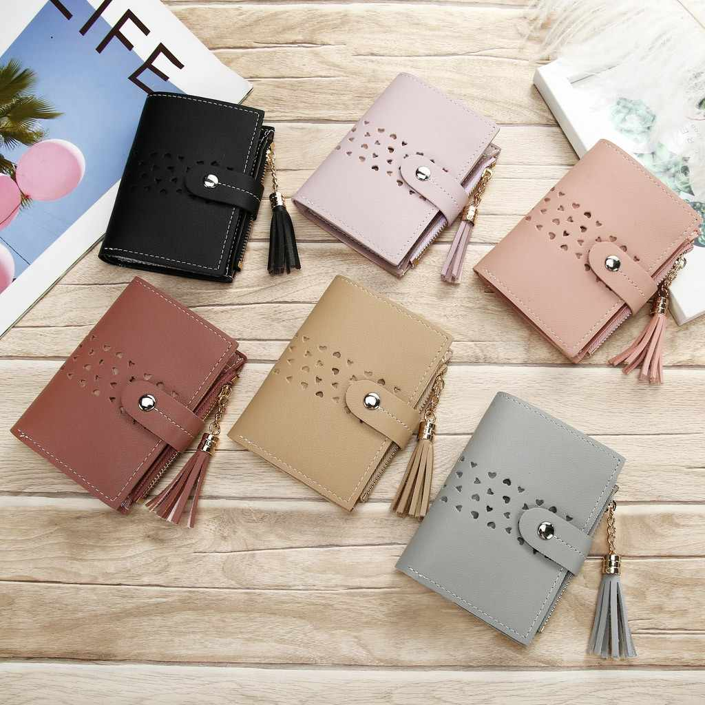 Moda kadınlar püskül Hasp küçük cüzdan bozuk para cüzdanı cüzdan kart tutucu s çanta debriyaj bayanlar kart tutucu anahtar çantası para çantaları
