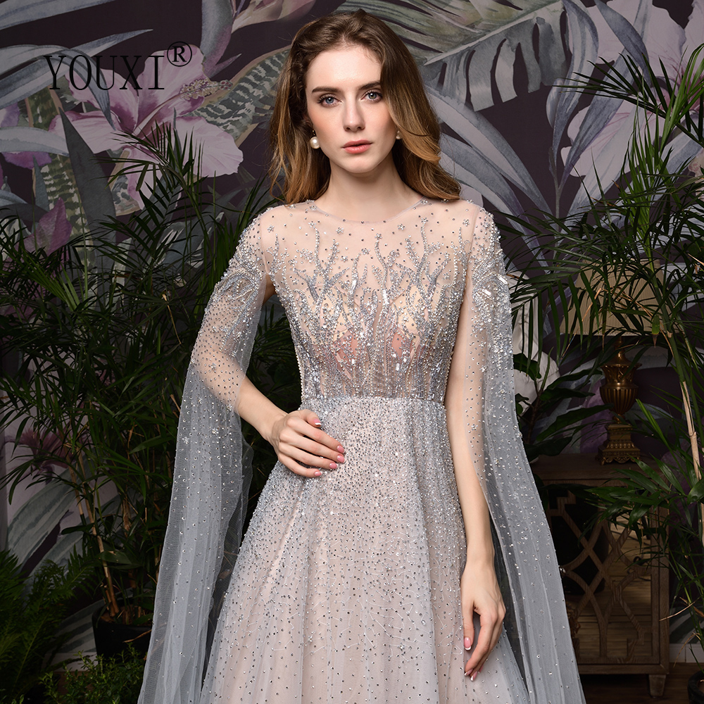 Silver Grey Luxury Dubai Evening Dresses 2020 Long Sleeves O-Neck A-Line Sexy Evening Gowns