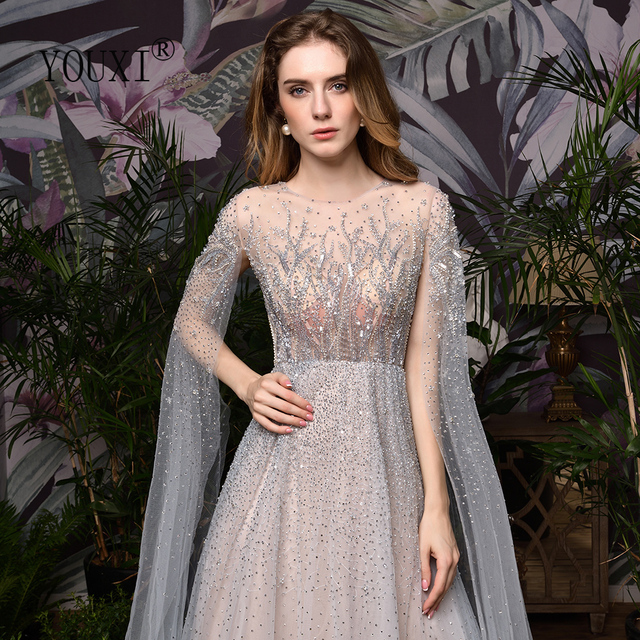 Silver Grey Luxury Dubai Evening Dresses 2020 Long Sleeves O Neck A Line Sexy Evening Gowns