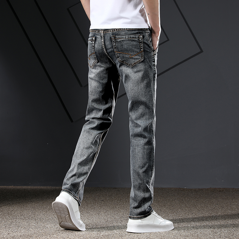 KSTUN Men's Jeans Classic Straight Regular Fit Grey Blue Stretch Jeans for Men Spring Summer Casual Denim Pants Long Trousers 19