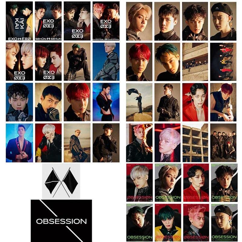 16Pcs/Set KPOP EXO 6th Album OBSESSION Photo Card Lomo Card Photo Card Poster  Photocard Fans Gift Collection Stationery Set