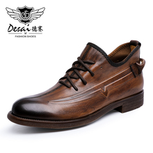 Desai Genuine Cow Leather Men Shoes Winter Lace Casual Shoe For Male Branded Leather Boots Fashion Footwear