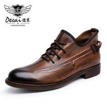 Desai véritable cuir de vache hommes chaussures hiver dentelle chaussures décontractées pour homme marque bottes en cuir chaussures dentraînement