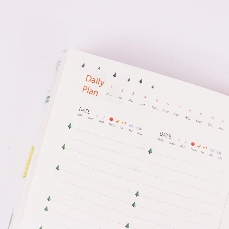 365 Planner Agenda Notebook Colorful Inner Page Illustration Yearly Daily Plan Journal Record Life Stationery Gifts 5