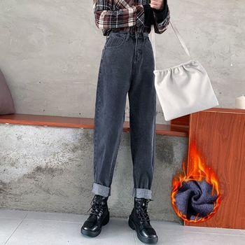 2021 Autumn Winter Women Jeans Demin pants straight long jeans plus size fashion high waist buttons pockets harem pants 1