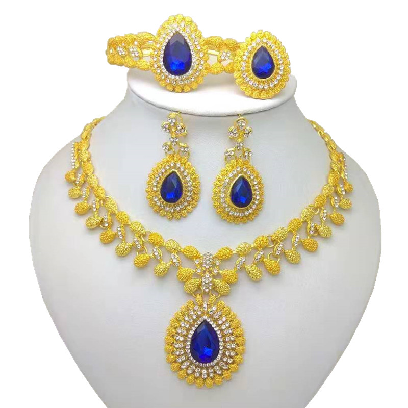 Kingdom Ma Wholesale African Fashion Bridal Accessories Nigerian Wedding Jewelry Brand Dubai Gold-Color Crystal Jewelry Sets