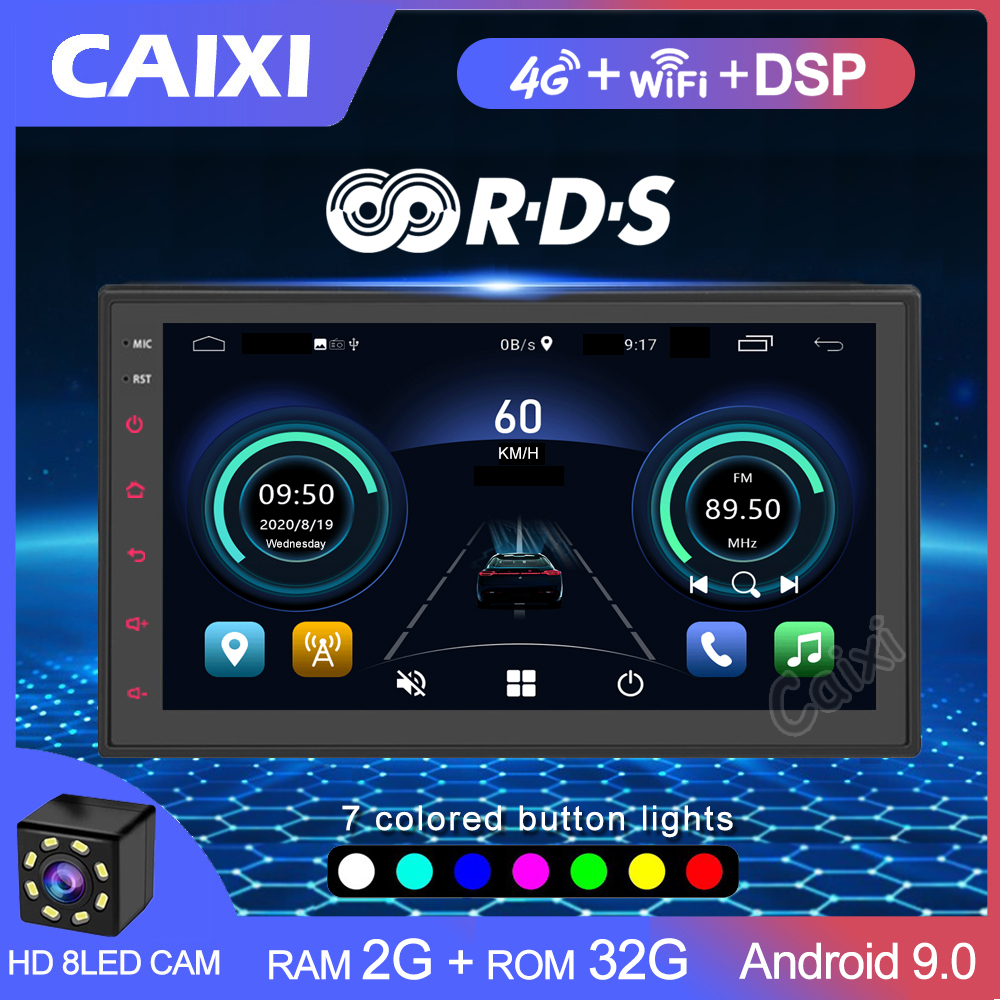2 din android 9.0 2gb ram reprodutor de vídeo multimídia do carro 2din rádio universal gps para toyota nissan volkswagen hyundai kia lada