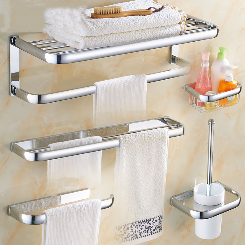 Wall Mounted Bathroom Hardware Set Chrome Polished Toothbrush Holder Paper Holder Towel Bar Bathroom Accessories image