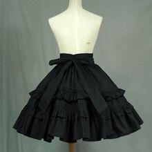 Black Vintage A line Skirt Short Lolita Skirt with Layered R