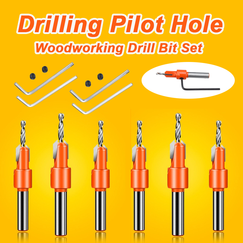 HSS Countersink Drill Bit Screw Woodworking Chamfer Tool Quick Change Wood Hole Drills Bit Round Shank Timber Plastic Working