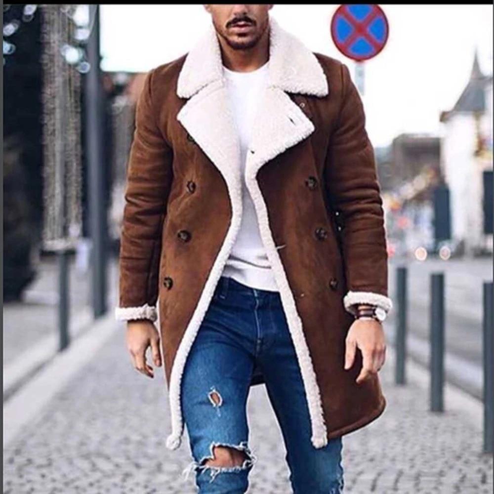 Cool Handsome Men Jacket Warm Winter Trench Long Outwear Button Smart Overcoat