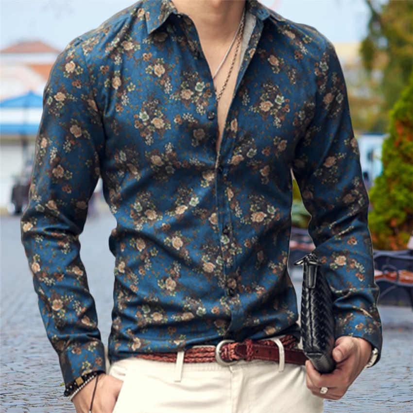 2019 koszule męskie Retro Floral Printed Man Casual obcisła  w6Owm