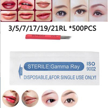 500pcs 3/5/7/17/19/21RL High Quality Microblading Needles Roung Fog Eyebrow Tattoo Needle