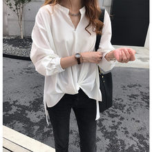 2019 Lente Zomer Mode Elegante Effen Losse Lange Mouw Blouse Vrouwen Shirts Pluse Size Blusa Casual Pullover tops(China)