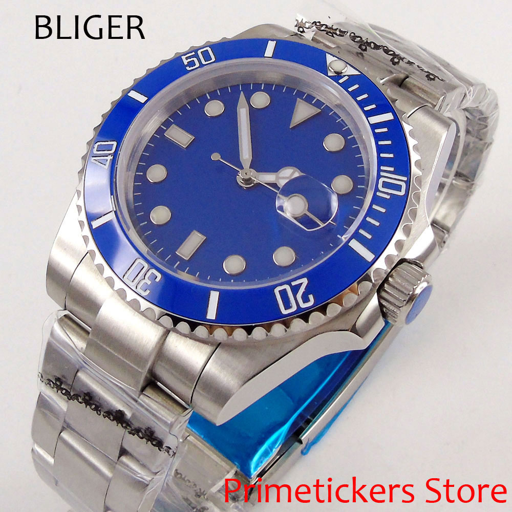 Sapphire crystal 43mm blue sterile dial sapphire glass date automatic movement mens watch
