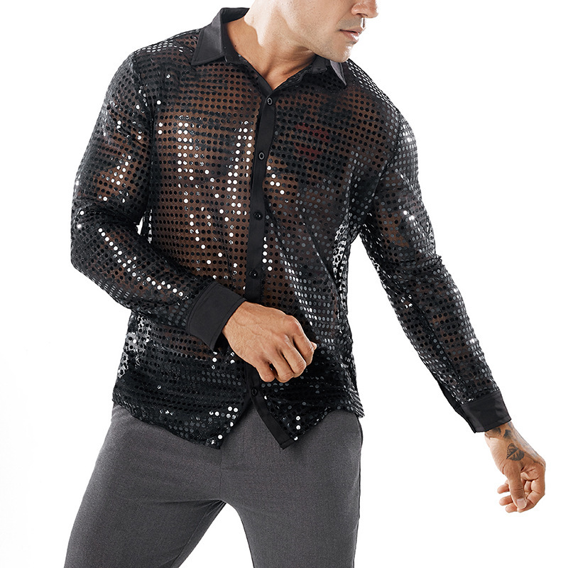 Europe And America Men Autumn And Winter Dotted Scale Nightclub Costume Design MEN'S Long Sleeve Lapel Shirt B5118