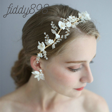 Luxury Crystal Flower Wedding Hair Accessories Princess Crown Bride Headwear Earring Wedding Hairpieces for Women Tiara цена и фото