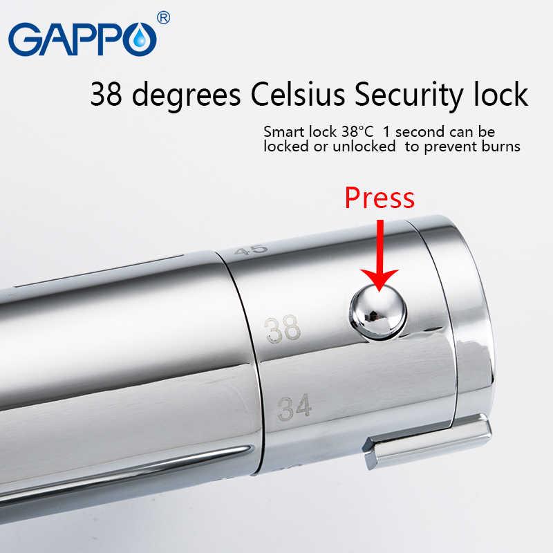 GAPPO bateria prysznicowa z termostatem chromowany kolor łazienka z wanną bateria natryskowa zestaw wodospad deszczownica bateria do wanny krany