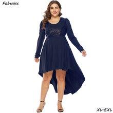 Elegant Blue Sequined Party Dress Women Long Sleeve O Neck Irregular Chiffon Dresses Plus Size 5XL Slim Midi Autumn