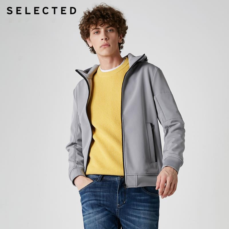 SELECTED Men's Spring Hooded Jacket Napping Lining Clothes Short Coat S   4191OM514