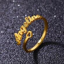 Personalisierte Babygirl Namen Ring Edelstahl Gold Gefüllt Einstellbare Name Ring Frauen Männer Custom Schmuck Freundschaft Geschenk