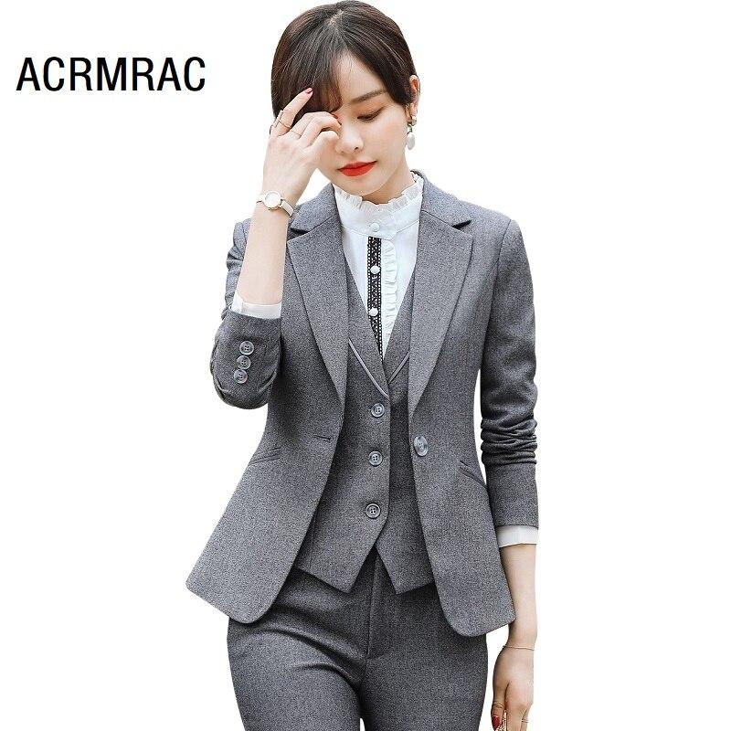Women Suits Slim Autumn Winter Solid Color Blazers Jacket Pants 2-piece Set OL Formal Women Pants Suits Woman Set Suits 20917