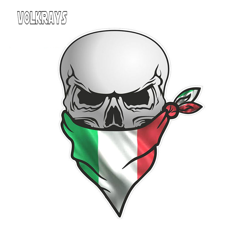 Volkrays Creative Car Stickers Gothic Biker Pirate Skull with Face Bandana Italy Tricolore Flag Decoration Decals Vinyl,12cm*8cm image