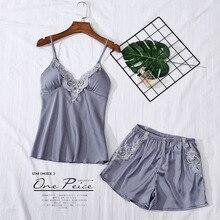 Summer pajamas chiffon silk sweet sexy girl suspender shorts short-sleeved two-piece home service