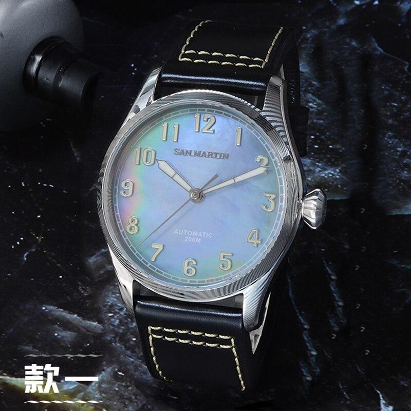 سان مارتن دمشق الرجال الميكانيكية ساعة أوتوماتيكية 200 متر مقاومة للماء 42 مللي متر في القطر الياقوت الزجاج الطيار ساعة اليد الذكور-في الساعات الميكانيكية من الساعات على