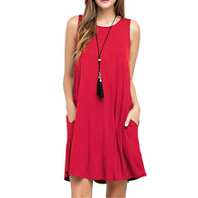 Women Summer Fashion Tank Dress Hot Selling Solid Color Loose Casual Sleeveless Above Knee Mini for  Vestidos