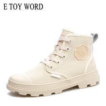 E TOY WORD Casual women canvas shoes 2019 New Spring Autumn Women Ankle Boots Flat Shoes Female basket Outdoor Booties