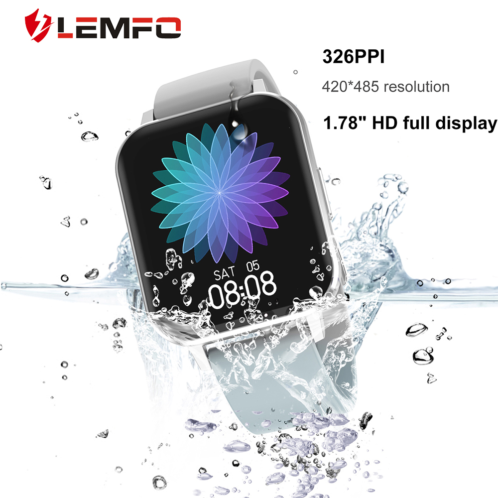 LEMFO Smart Watch Men DTX 1 78 inch HD Screen IP68 Waterproof Heart Rate Monitor Fitness Tracker Sports Watch for Android IOS