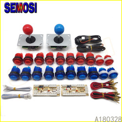 Arcade DIY LED Kit mit Null Verzögerung USB Encoder PC Arcade Spiele 8 Weg Joystick + 5V LED beleuchtete Arcade Push Tasten