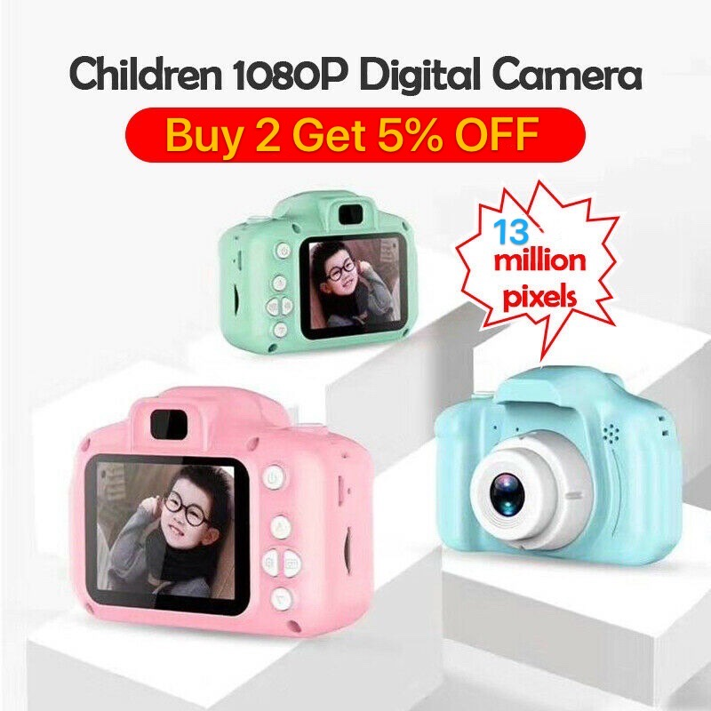 Mini 13MP HD 1080P 2.0 Inch 13 Million Pixel Waterproof LCD Compact Cute Cartoon Digital Video Camera For Kids Children Gift image