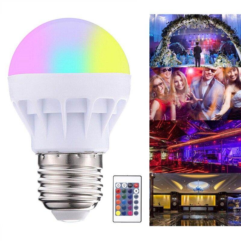 Lâmpada led e27, 20 mudanças de cor, rgb, mágica, 5 w, 85-265v, rgb, holofote + lâmpadas de led para decoração de casa, controle remoto ir