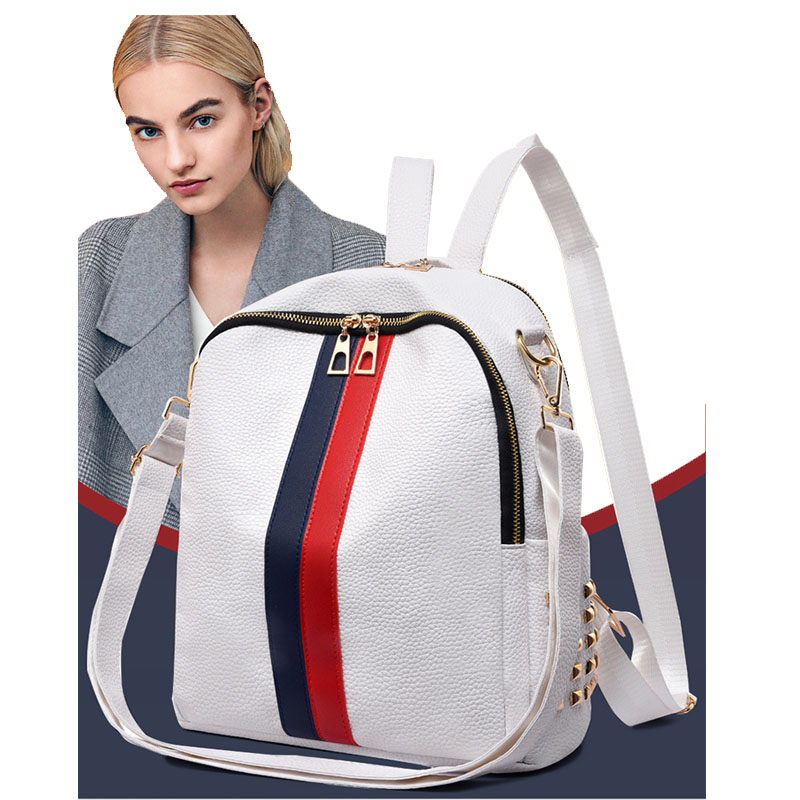 New PU Soft Leather Backpack Casual Ladies Shoulder Bag Trend Multi-Function Backpack Baby Care Diaper Bag Zipper Travel Bag
