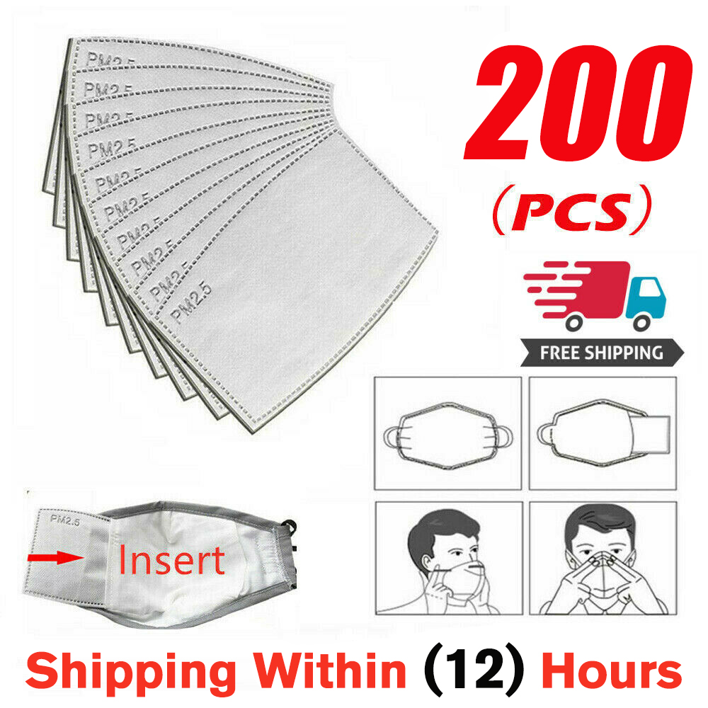 200 Pcs/Lot PM2.5 Filter Paper Anti Haze Mouth Mask Anti Dust Mask Activated Carbon Filter Paper Health Care