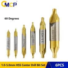 Broca combinada revestida da broca 1.0-5.0mm cortador do furo de 60 graus para a ferramenta de metalurgia cmcp 6 pces hss center brocas ajustadas estanho