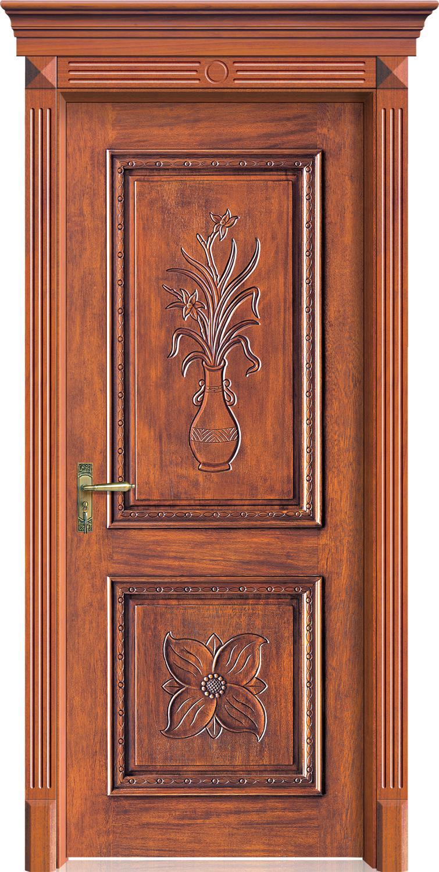 Luxury Carving Designs Thai Oak Interior Single Solid Wood Door B24