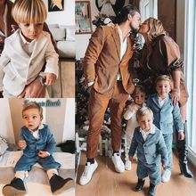 High Quality Corduroy Formal Suits Dinner Tuxedos Little Boy Kids Children For Wedding Birthday Party Prom Suit Wear 2 Pieces