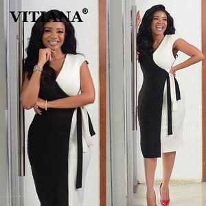 Image 1 - VITIANA النساء أنيقة الخامس الرقبة خياطة اللون فستان صيفي 2020 الإناث ضئيلة مكتب سيدة OL فساتين متوسطة الطول فام عادية Vestidos