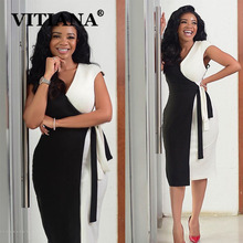 VITIANA נשים אלגנטי V צוואר תפרים צבע שמלת קיץ 2020 נקבה Slim משרד ליידי OL Midi שמלות Femme מקרית Vestidos