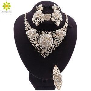 Image 1 - Fashion African Jewelry Set  Dubai Gold Jewelry Set Women Customer Nigerian Wedding Brand Jewelry Set Flower Design Gift