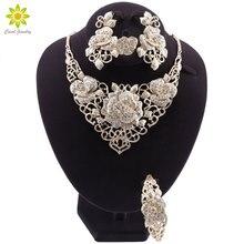 Mode Afrikaanse Sieraden Set Dubai Gouden Sieraden Set Vrouwen Klant Nigeriaanse Wedding Brand Sieraden Set Bloem Ontwerp Gift