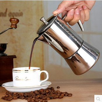 New Manual Coffee Pot with Filter Stainless Steel Coffee Maker Machine Travel Coffee Cup Promotional Item Water Bottle Juice Pot