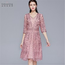 Pink Plus Size Elegant Lace Mother Of The Bride Dresses Satin Modest 3/4 Sleeves Wedding Party Dresses Vestido De Madrinha