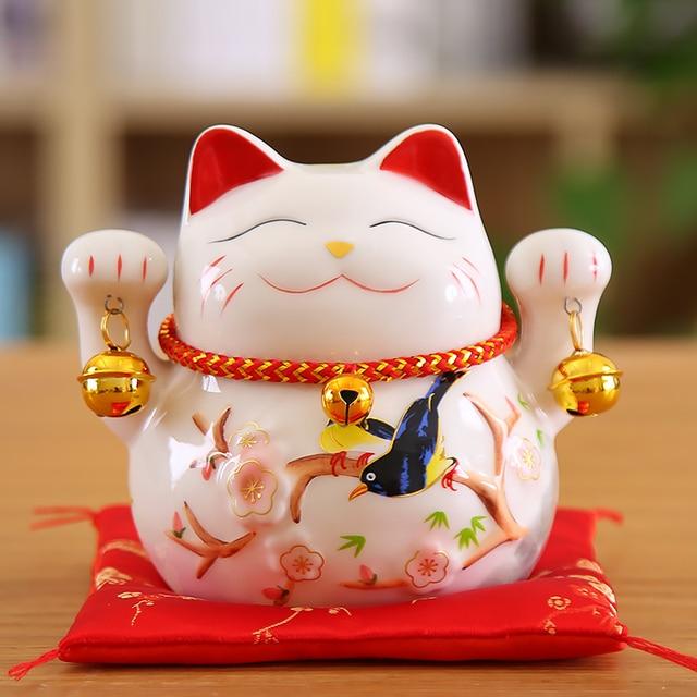 5 inch Maneki Neko Lucky Cat Ornament Ceramic Fortune Cat Statue Home Decorative Gift Feng Shui Beckoning Cat Piggy Bank 5